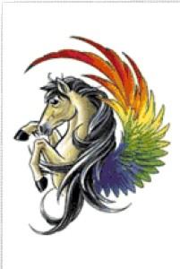 Вышивка: Лошадь - радуга