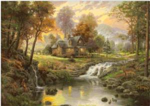 Вышивка красивый сказочный пейзаж