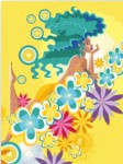 Схема вышивки: Девушка на облаке из цветов-40-50