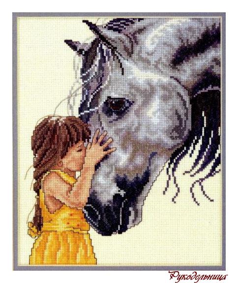 вышивки: Серая лошадь и