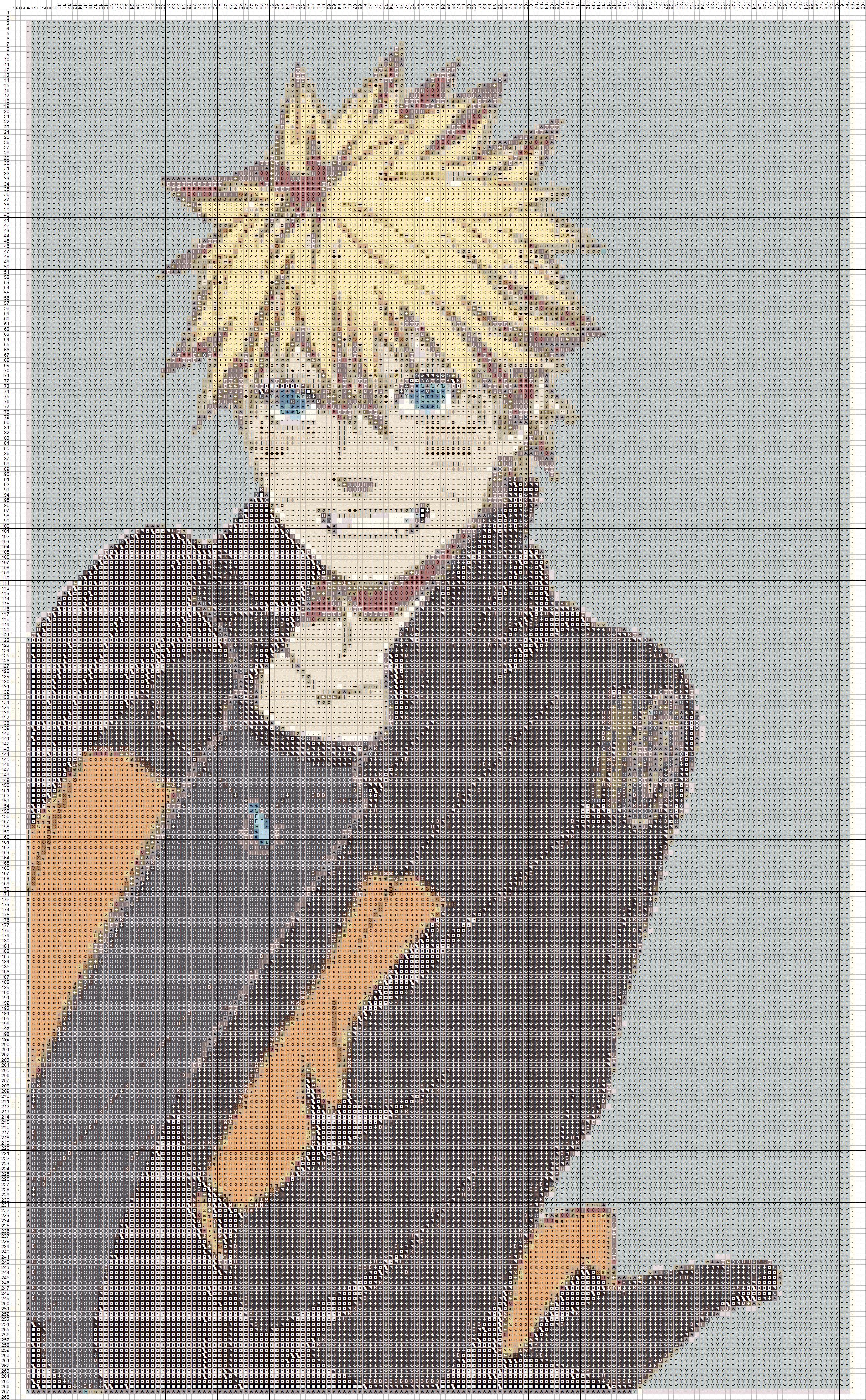 Вышивка крестом по схеме аниме бесплатно
