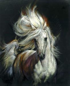 Схема вышивки-белая лошадь-на темном